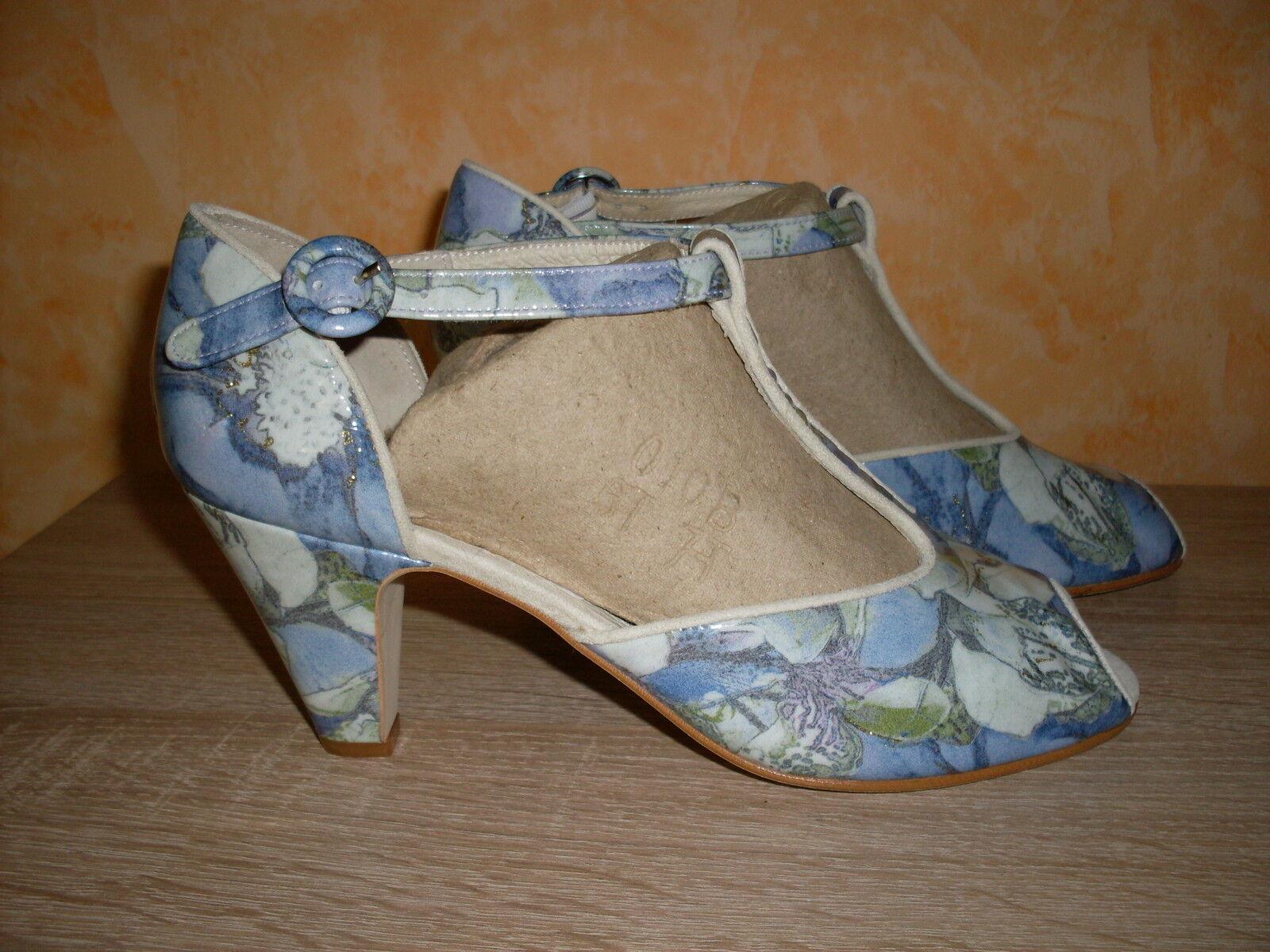 Leonie T- Spangen Sandalette NEU Gr. 39 in & Lack Leder blau kombiniert