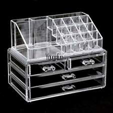 ON SALE !! MAKEUP ORGANIZER - ACRYLIC 3 TIER 4 DRAWER COSMETIC DISPLAY CASE Grid