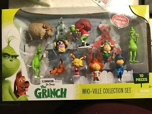 NEW Dr Seuss The GRINCH Who-Ville 10 PC Figurine Collection Set Whoville Figures