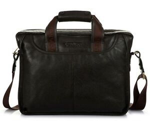 Men-039-s-Geniune-Leather-Briefcase-Business-Cases-Shoulder-Messenger-Laptop-Bag