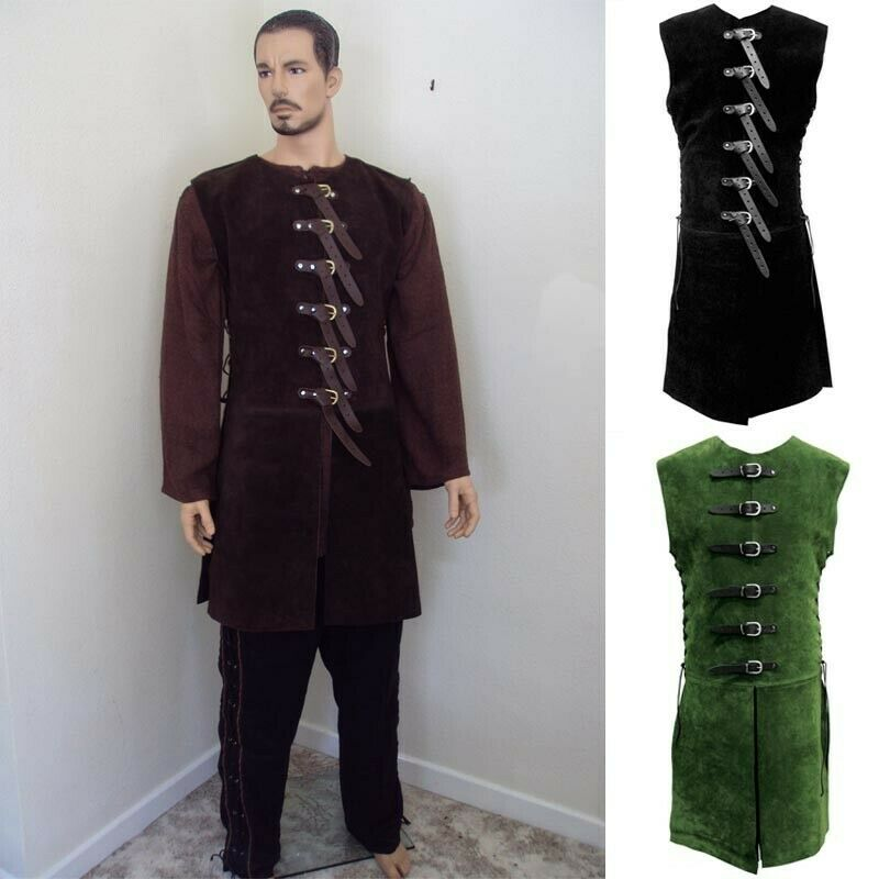 Adjustable Suede Buckled Jerkin with Leather Straps Theatre and Costume or LARP