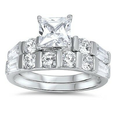 .925 Sterling Silver Princess Cut Clear CZ Wedding Promise Ring Set Size 5-10