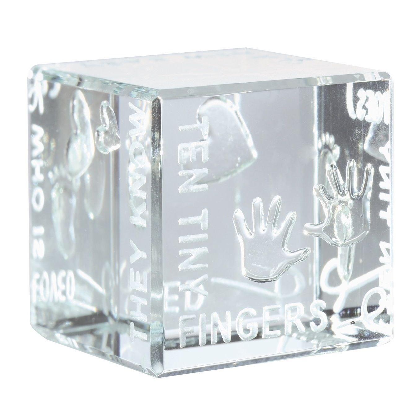 Spaceform Glass Godchild Stars /& Hearts Mini Cube Christening Keepsake Gift