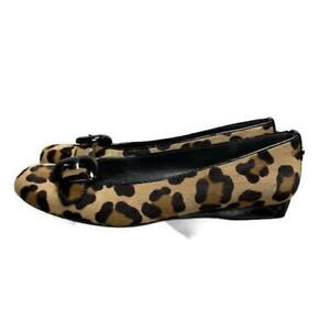 Stuart-Weitzman-Ballet-Flats-Shoes-Animal-Print-Calf-Hair-Buckle-Flats-Size-9-5