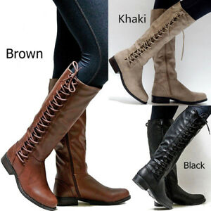 New-Women-Lace-up-Knee-High-Boots-Motorcycle-Combat-Riding-Punk-Shoes-Plus-Size