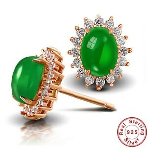 ab17cc307 Women Green Stone Stud Earrings 925 Sterling Silver Rose Gold Luxury ...