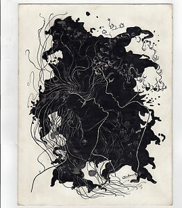 AMOUR-technique-mixte-signee-SCHMUCKI-artiste-Suisse-Ne-1967