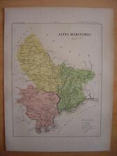 CARTE départementale ALPES MARITIMES vers 1880 Nice Menton Antibes Breil Monaco
