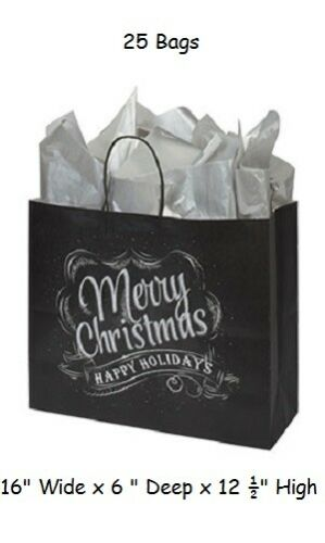 "25 Christmas Chalkboard Paper Shopping Bags 16/"" x 6"" x 12 ½"" Retail Gift Vogue"