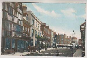 Gloucestershire-postcard-Tewkesbury-Church-Street-P-U-1913-A576