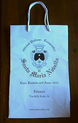 100% Vero Santa Maria Novella White Paper Carrier Bag Taglia L 44 X 32 X 17 Cm- Superficie Lucente