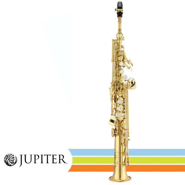 Jupiter JSS1100 Gold Lacquered Key of Bb Soprano Straight Saxophone with Case