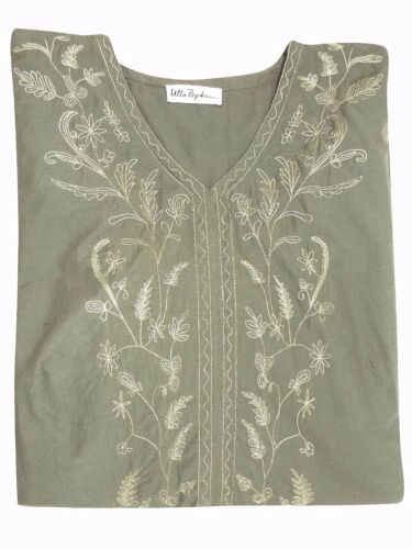 Ulla Popken NEW Long sleeve  Embroidered KHAKI TUNIC Plus Sizes 16 to 34