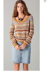 Torn by Ronny Kobo Haydon Long Sleeve Open Knit Sweater MULTI STONE braun NEW