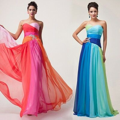 Colorful Chiffon Gowns Formal Evening Bridesmaid Bridal Prom Party Dress US 2-16