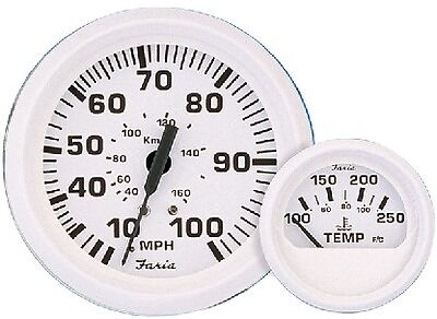 """New Dress White Series faria Instruments 13108 2/"""" Water Pressure Gauge Kit 30 PS"""