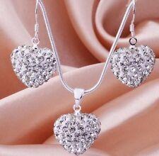 8Set/lot white clay micro pave crystal heart shamballa necklace pendant set
