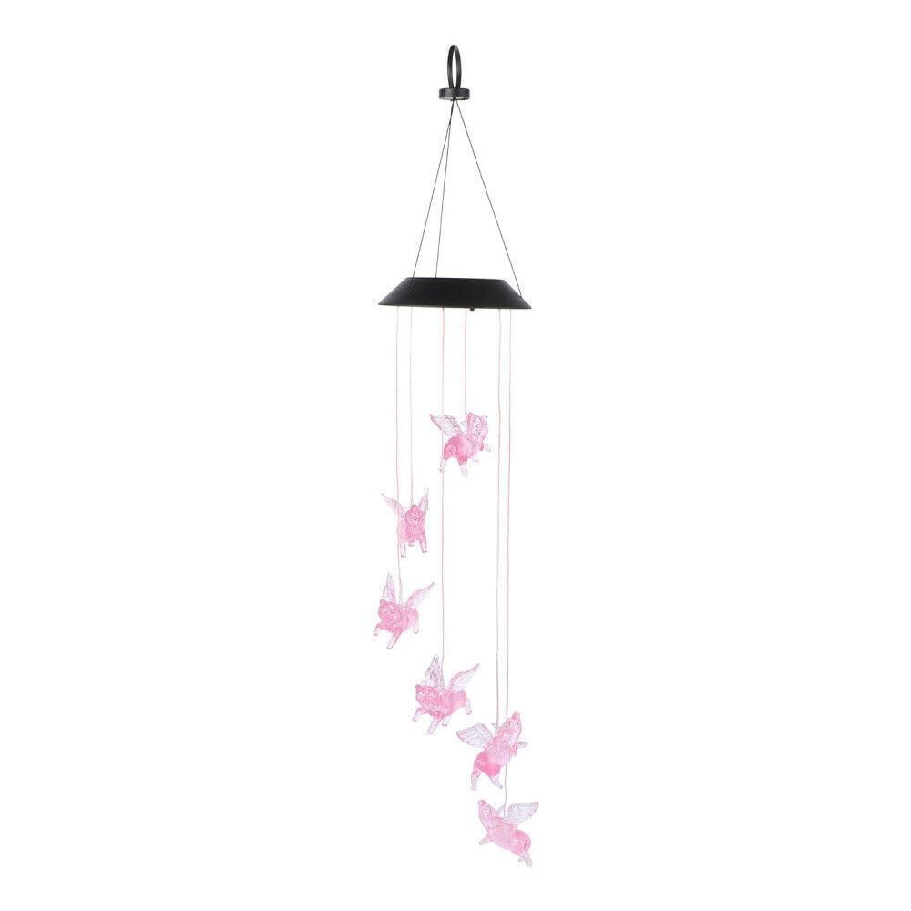 1 Pc Wind Chime Light Solar Powered Fly Pigs Hanging Lamp for Courtyard Lawn