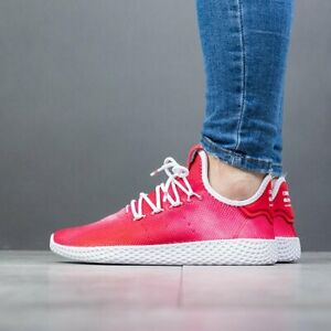 Adidas Originals Hu UK Size 4 Women's Trainers Red White Shoes
