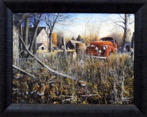 19 x 15 Jim Hansel Back Forty Bobwhites   Studio Canvas Framed Print