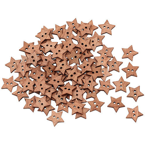 HR- 100Pcs 2 Holes DIY Star Shape Wooden Button Scrapbook Craft Sewing Buttons T