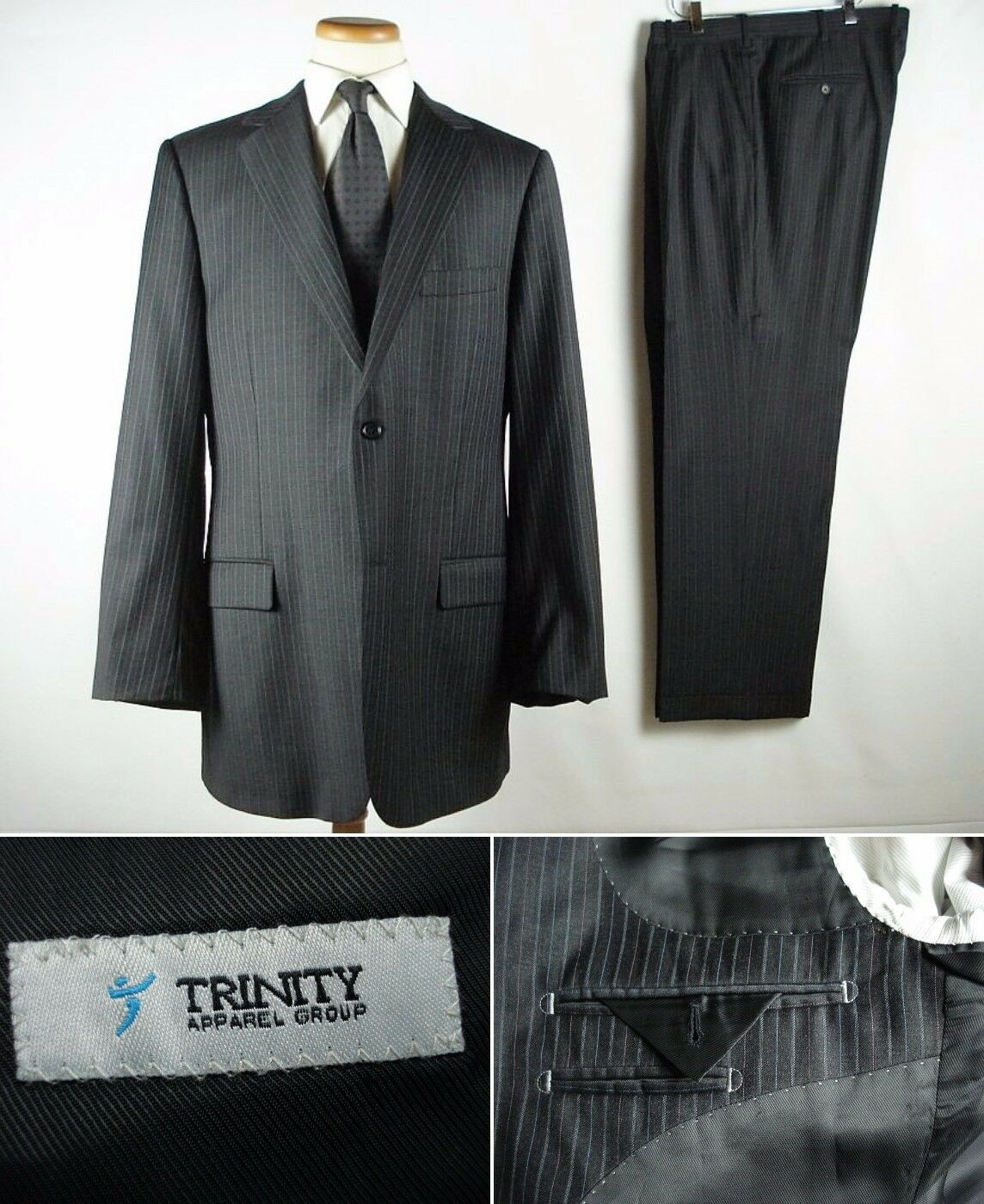 Trinity Apparel Fine Wool Striped Suit fits 44L 44 W39-40 L30