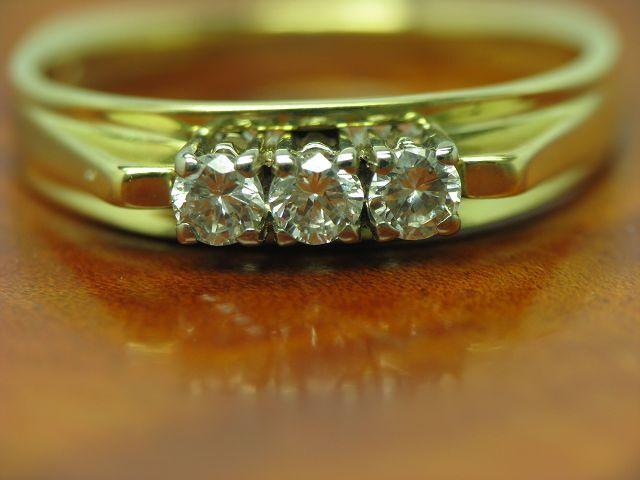 14kt 585 bicolor gold Ring mit 0,30ct Brillant Besatz   Diamant   3,2g   RG 52,5