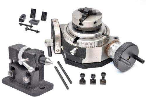 """Rotary Table 4/"""" Tilting with 65mm  Chuck Adjustable Tailstock /& Clamping Kit"""