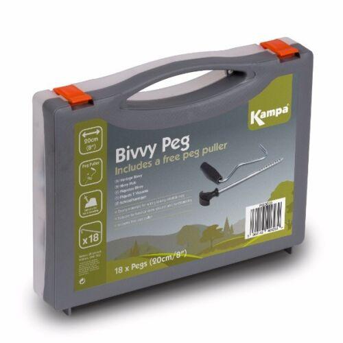 "Kampa Camping BIVVY PEG SET 18 pegs /& puller 20cm 8/"""