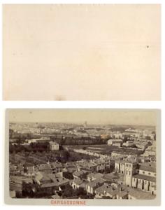 France-Carcasonne-Panorama-CDV-vintage-albumen-carte-de-visite-Tirage-alb