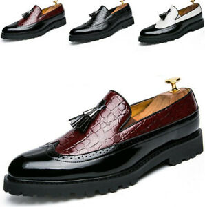 Men-Brogue-Slip-On-Pointy-Toe-Dress-Formal-Oxfords-Tassel-Loafers-Wing-Tip-Shoes
