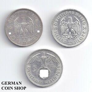 Set-3-x-5-Reichsmark-Silver-1934-1939-Third-Reich-German-Reich
