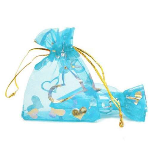 25pcs 7x9cm Organza Pouches Gift Jewellery Bags Rectangle Love Heart Flowers