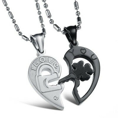 His and Hers Stainless Steel I Love You Heart Men Women Couple Pendant Necklaces