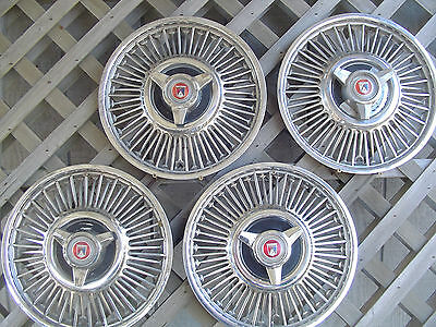 1964 1967 FORD FALCON RANCHERO HUBCAPS WIRE WHEEL COVERS CENTER CAPS 13 IN