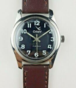 VINTAGE-CAMY-17J-ONYX-BLACK-MEN-039-S-WINDING-SWISS-WRIST-WATCH-MN