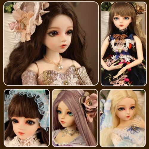 1//3 BJD Doll Ball Jointed Body Girl Dolls Eyes Face Makeup Wig Clothes Set GIFT