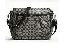 NWT Coach Signature PVC Messenger Diaper Baby Tote Crossbody Bag 18373 Black
