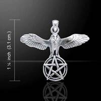 Flying Owl With Pentagram Silver Pendant Tp3308