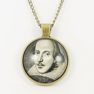 SHAKESPEARE NECKLACE william bust poet poetry bard playwright theatre vintage