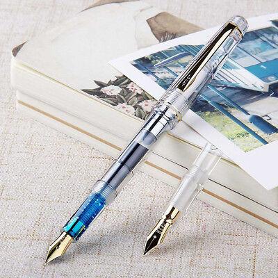 2017 Wing Sung 659 Black Fountain Pen Screw Golden Clip EF//F 2 Nibs 0.38//0.5mm