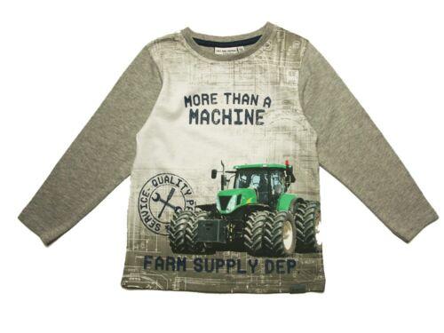 Salt /& Pepper Langarmshirt Traktor Zwillingsreifen Fotodruck Grey Melange