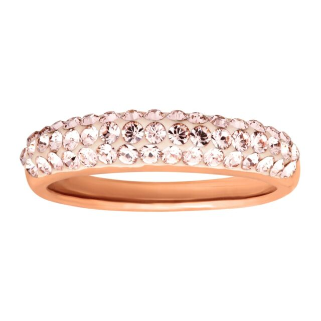 b3774e9f7 Crystaluxe Band Ring w/ Rose Swarovski Crystals in 14K Rose Gold-Plated  Silver