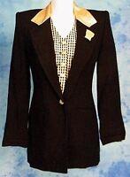 ArTsY 80s VtG GOLD LEATHER METALLiC PLAiD VEST DRESS JACKET BOYFRiEND BLAZER S