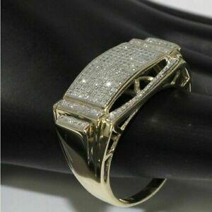 Men/'s 14K Yellow Gold Finish Round Diamond Engagement Wedding Pinky Band Ring