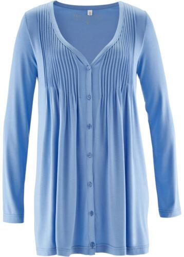 Tunika Shirt Jacke blau figurumspielend Biesen lang Viscose M L XL 2XL 053 neu