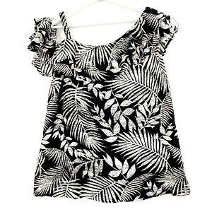 City Chic Plus Size XS (AU 14) Black White Leaf Print Ruffle Shoulder Blouse Top