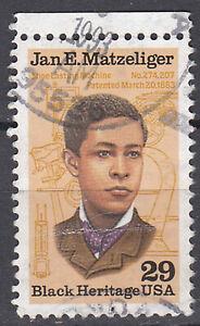 USA-Briefmarke-gestempelt-29c-Jan-E-Matzeliger-Rand-oben-Rundstempel-2739