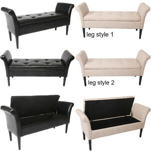 Details about Modern Storage Bench w/ Arms Button Tufted Footstool Ottoman  Living Room Bedroom