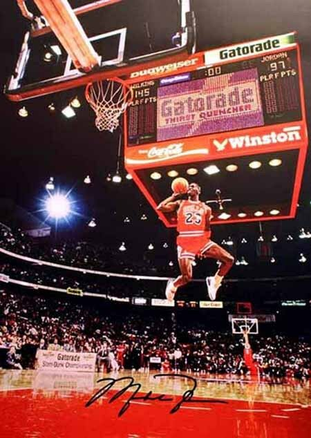 Michael Jordan Chicago Bulls Slam Dunk 87-88 Champion Signed Autograph A4 Poster